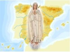 Virgen de fátima sobre el mapa de España