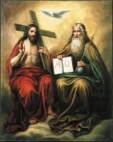 Santísima Trinidad - Jesus sentadoa la derecha del Padre