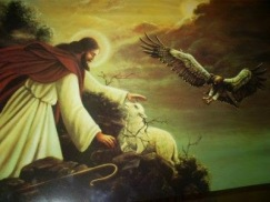 Jesucristo buscando la oveja perdida