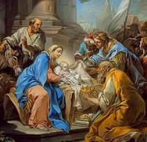 Los Reyes Magos ofreciendo regalos al Niño Jesús