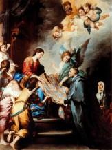 Índice de Biografías - Esteban Murillo - La descensión de la Virgen para premiar los escritos de San Ildefonso