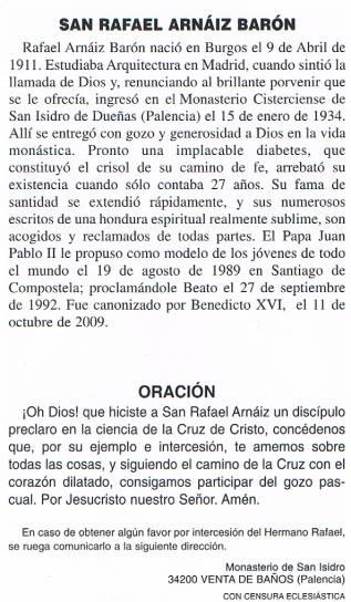 Oración San Rafael Arnáiz