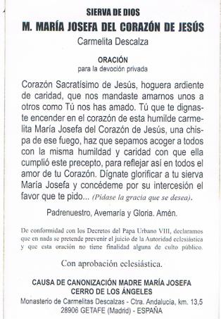 Madre María Josefa - Oración