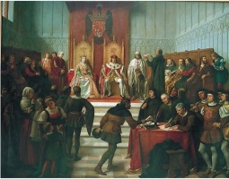 Reyes Católicos sentados en su trono