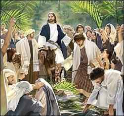Jesús entra en Jerusalén con palmas
