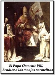 Papa Clemente III - Bendiciendo monjas carmelitas
