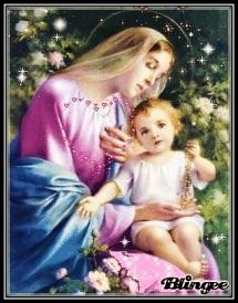 Virgen María y Niño Jesús - estrellas