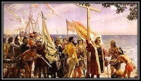 Cristobal Colón - con la Cruz desembarcando