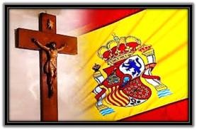 Crucifijo y Bandera de España