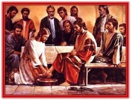 Jesucristo lava los pies a los Apóstoles