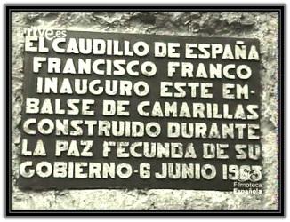 Placa de inaguración de Franco de pantano