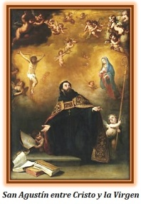 San Agustín entre Cristo y la Virgen