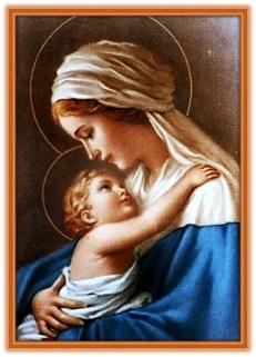 La Virgen María y Jesús abrazado