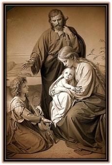 Sagrada Familia y niño musico