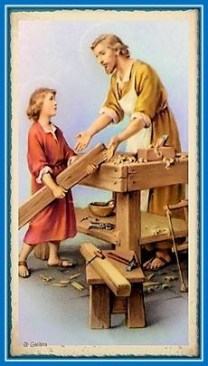 San José y Niño Jesús en el taller