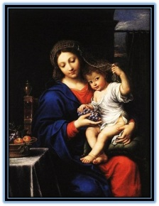 María y Niño Jesús jugando con el velo