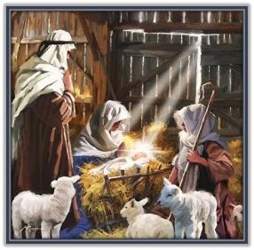 Nacimiento del Niño Jesús y pastor