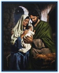 Sagrada Familia en el pesebre
