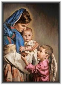 Virgen María, Niño Jesús y ángel