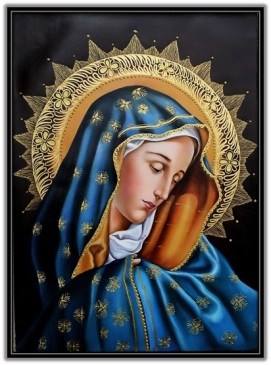 Virgen María con manto azul