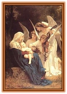 La virgen María con el Niño Jesús y los Ángeles