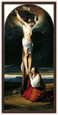 jesús crucificado y maría