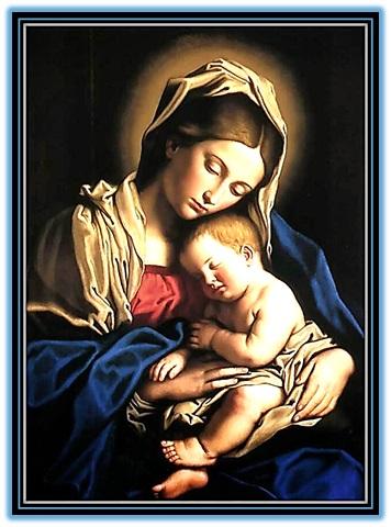 la virgen maría con el niño jesús dormido