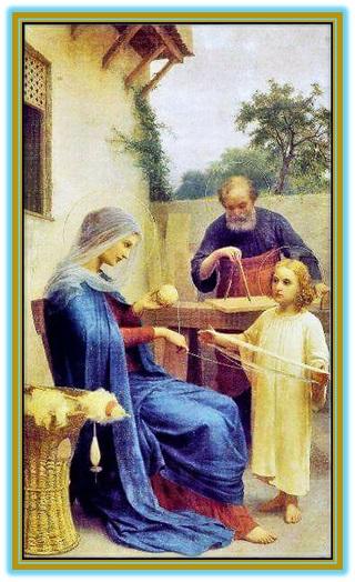 niño jesús ayudando a su madre