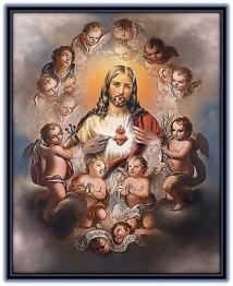 sagrado corazón de jesús rodeado de ángeles