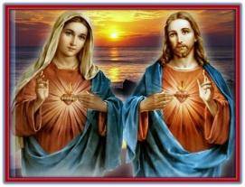 sagrados corazones jesús y maría y puesta del sol