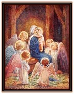 virgen maría con el niño y los ángeles