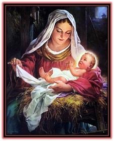 virgen maría con niño jesús en el pesebre