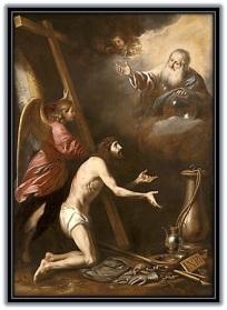 Jesús con la cruz a la voluntad del Padre
