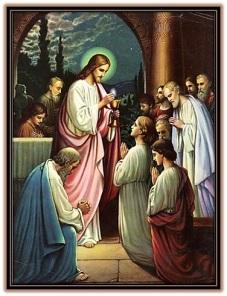 Jesucristo dando la Comunión a gente arrodillada