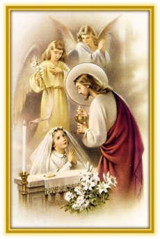Jesucristo dando la Comunión niña