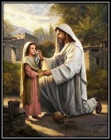 Jesucristo y niña con jarrón roto