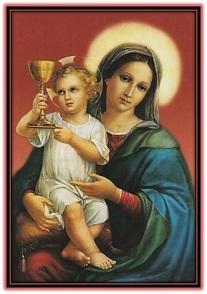 María y Niño Jesús con el Cáliz