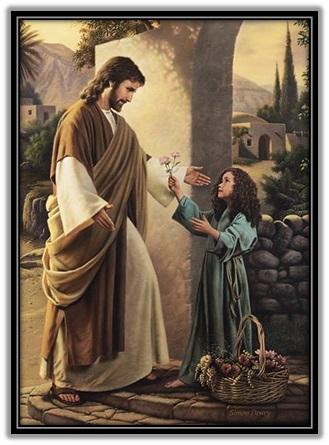 Niña ofreciendo flor a Jesucristo