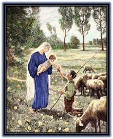 Pastor entregando flor al Niño Jesús