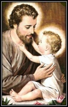 San José y Niño Jesús tocando la barba
