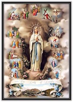 Virgen de Lourdes y los cuatro Misterios del Rosario
