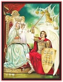 Arcángel San Miguel, Virgen María y Niño Jesús