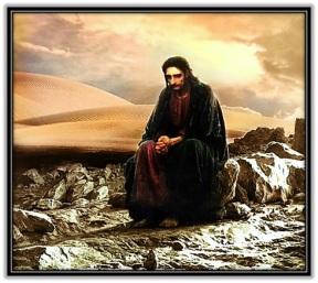 Jesús en el desierto orando