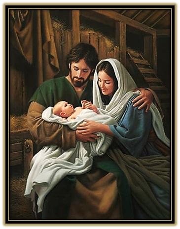jesús, José y María en el pesebre