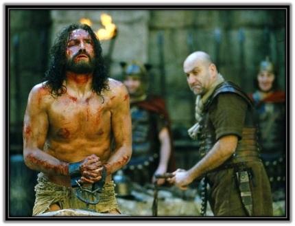 La flagelación de Jesucristo atado en la columna