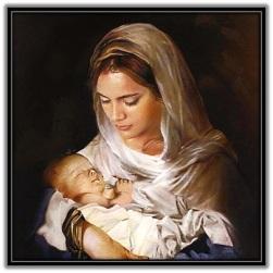 María con el Niño Jesús enbrazos