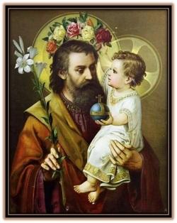 San José y Niño Jesús poniendo corona de flores