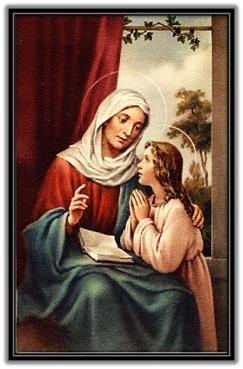 Santa Ana enseñando a rezar a María