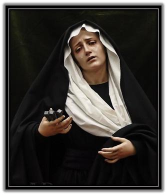 Virgen Dolorosa con los clavos en la mano