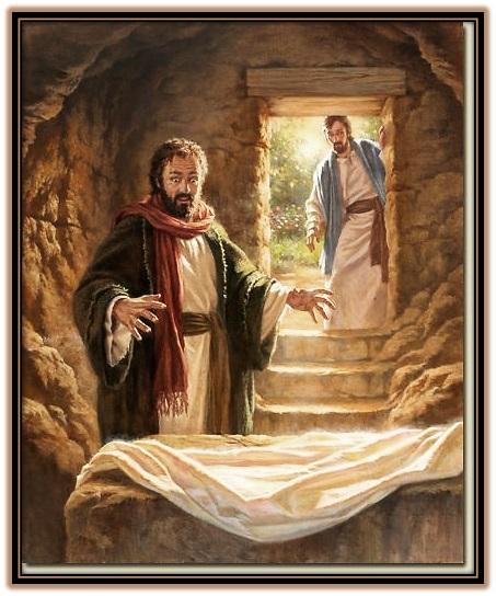 Pedro y Juan dentro del Sepulcro